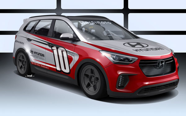 """HYUNDAI JOINS FORCES WITH BISIMOTO TO DEVELOP """"SANTA-FAST"""" 1,040 HORSEPOWER REAR-DRIVE SANTA FE SUV FOR 2016 SEMA SHOW"""